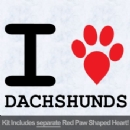 I Love Dachshunds with Red Paw Heart Iron on Transfer