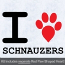 I Love Schnauzers with Red Paw Heart Iron on Transfer
